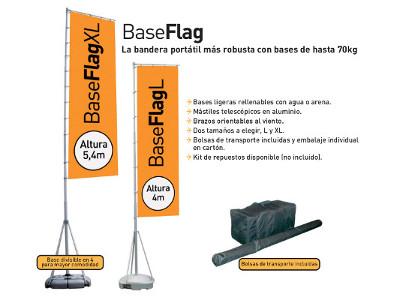 Banderas asta plegables con base rellenable exteriores