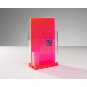 Portafolletos acrílico transparente con bolsillos y serigrafía