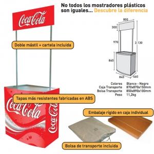 Mostrador de plástico con cartela
