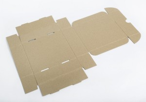 caja de envio abierta en plano en kraft